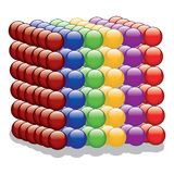 Cube of colorful Spheres. Vector illustration of cube made of colorful spheres stock illustration