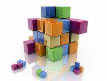 Cube colors. Colored cubes modeled in 3d isolated on white background Royalty Free Stock Photos