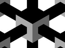 Cube complete. Cube lattice in black, white and gray stock illustration