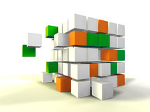 Cube concept. 3d image of several cubes isolated in white Stock Photo