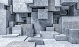Geometric 3d background. Cube concrete abstract background 3d rendering image Royalty Free Stock Photos