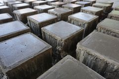 Cube concrete samples casting by steel mould royalty free stock images