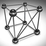 Cube from  connected cylinders and spheres. Metal lattice. White Stock Photo