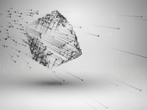 Cube with connected lines and dots. Wireframe mesh motion element. Connection concept. Technology background. Vector illustration stock illustration