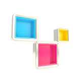 Cube copyspace shelves as abstract background. Cube copyspace shelves cmyk colored, bright and glossy isolated on white as abstract background Royalty Free Illustration