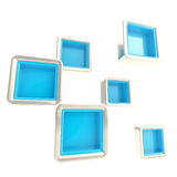 Cube copyspace shelves as abstract background. Cube copyspace shelves, blue, isolated on white as abstract background Stock Photography