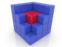 Cube with core in red color.3d illustration. Royalty Free Stock Photography