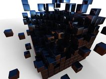 The cube of cube. 3d illustration of a black cube broke into smaller cubes on white background Stock Images