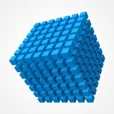 Cube of cubes, blue version 3d style vector illustration. Cube of cubes, blue version. 3d style vector illustration. suitable for any banner, ad, technology and Stock Photography