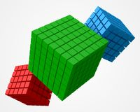 Cube of cubes, triple version. 3d style vector illustration. Suitable for any banner, ad, technology and abstract themes Stock Image