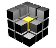 Cube in a cut. In the center of a cube the golden mean is visible Stock Photos