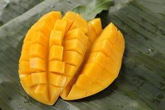 Cube cut mango Stock Photo