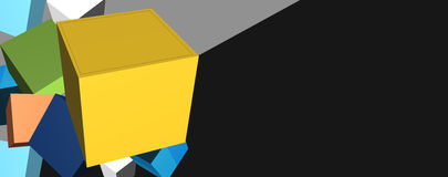 Cube 3D Boxes in Banner with Copyspace.  Stock Photo