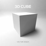 Cube 3D on gray background. Vector illustration. Stock Photos