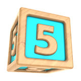 Cube 5. 3d illustration of toy cube with sign '5' on it Stock Photo