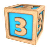 Cube 3. 3d illustration of toy cube with sign '3' on it Royalty Free Stock Photo