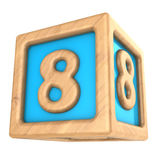 Cube 8. 3d illustration of toy cube with sign '8' on it Stock Photo