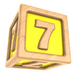 Cube 7. 3d illustration of toy cube with sign '7' on it Stock Photos