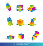Cube 3d logo icon set colors. Vector company logo icon element template 3d cube colored set business techology Royalty Free Stock Photography