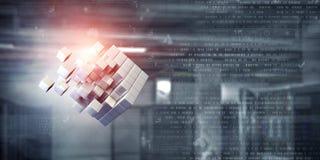 Cube dans le bureau moderne Media mélangé photographie stock libre de droits