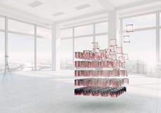 Cube dans le bureau moderne Media mélangé illustration de vecteur
