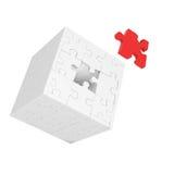 Cube de puzzles avec l'élément rouge Photo stock