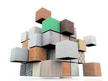 Cube des matériaux Photo stock