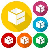 Cube design logo, icons set with long shadow Stock Images