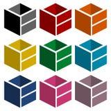 Cube design logo, icons set Stock Images