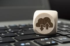 Cube Dice with Cloud Computing on a keyboard royalty free stock photos