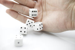 Cube dice in hand Royalty Free Stock Image