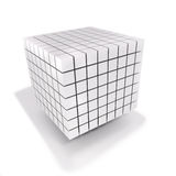 Cube and dice made of many small cubes Royalty Free Stock Images