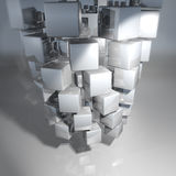 Cube and dice made of many small cubes Stock Image