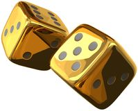 Cube dices golden 3d rendering isolated Stock Images