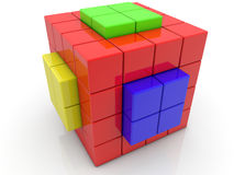Cube divided into cubes on white Royalty Free Stock Photos