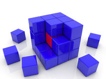 Cube divided into smaller cubes Royalty Free Stock Photography