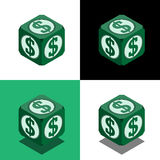 Cube with dollar logo in isometric view Royalty Free Stock Image