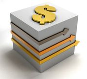 Cube with a dollar symbol Royalty Free Stock Photo