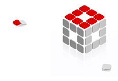 Cube with dropped pieaces Stock Photography