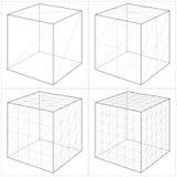 Cube du simple au vecteur compliqué 05 de forme Photos stock