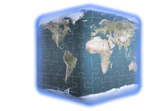 Cube earth puzzle. Planet the earth the puzzle connected from slices Royalty Free Stock Image