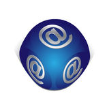 Cube with email icon. 3d cube with email icon for web Stock Photography