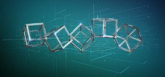 cube en blockchain du rendu 3d d'isolement sur un fond Photo libre de droits