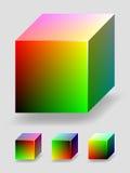 Cube en couleur - rouge et vert Photographie stock
