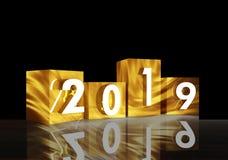 cube en or de la nouvelle année 2019 et à l'arrière-plan