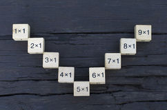Cube en formule mathématique 1x1 à l'arrière-plan en bois Photos stock