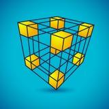 Cube en grille de vecteur Illustration Stock