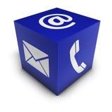 Cube en icône de Web de contactez-nous Photos libres de droits