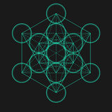 Cube en Metatrons Fleur de durée Géométrique sacré illustration stock