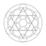Cube en Metatrons Illustration sacrée de la géométrie Images stock
